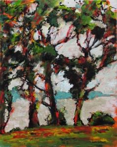 'Three Trees', Pierson's Point, Tasmania. Acrylic on board