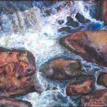 'Cataract George Rocks', tempura, paper on board, 2015, 30 x30cm