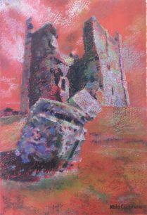 'Brough Castle Red', oil pastel on paper, 30 x 21cm, 2016